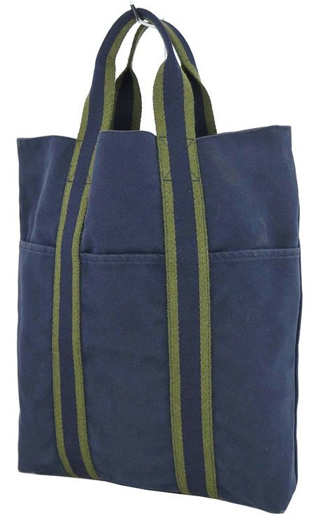 5fe7d793daba Authentic Hermes Fourre Tout Cabas Blue and Green Canvas Tote Bag ...