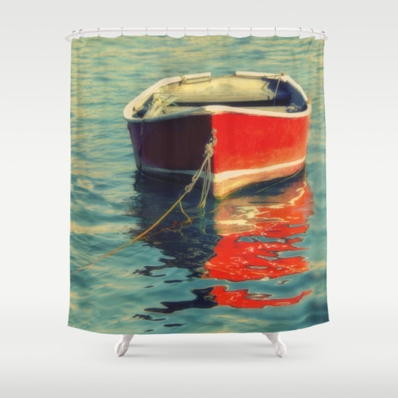 Shower Curtain Wooden Boat Photo Red Row Lake House