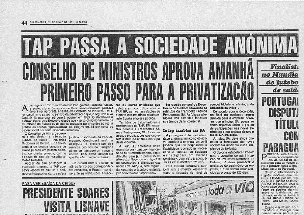JornalQ.com - TAP - 20 anos atrás, Cavaco Silva aprova a transformação do grupo em sociedade anónima