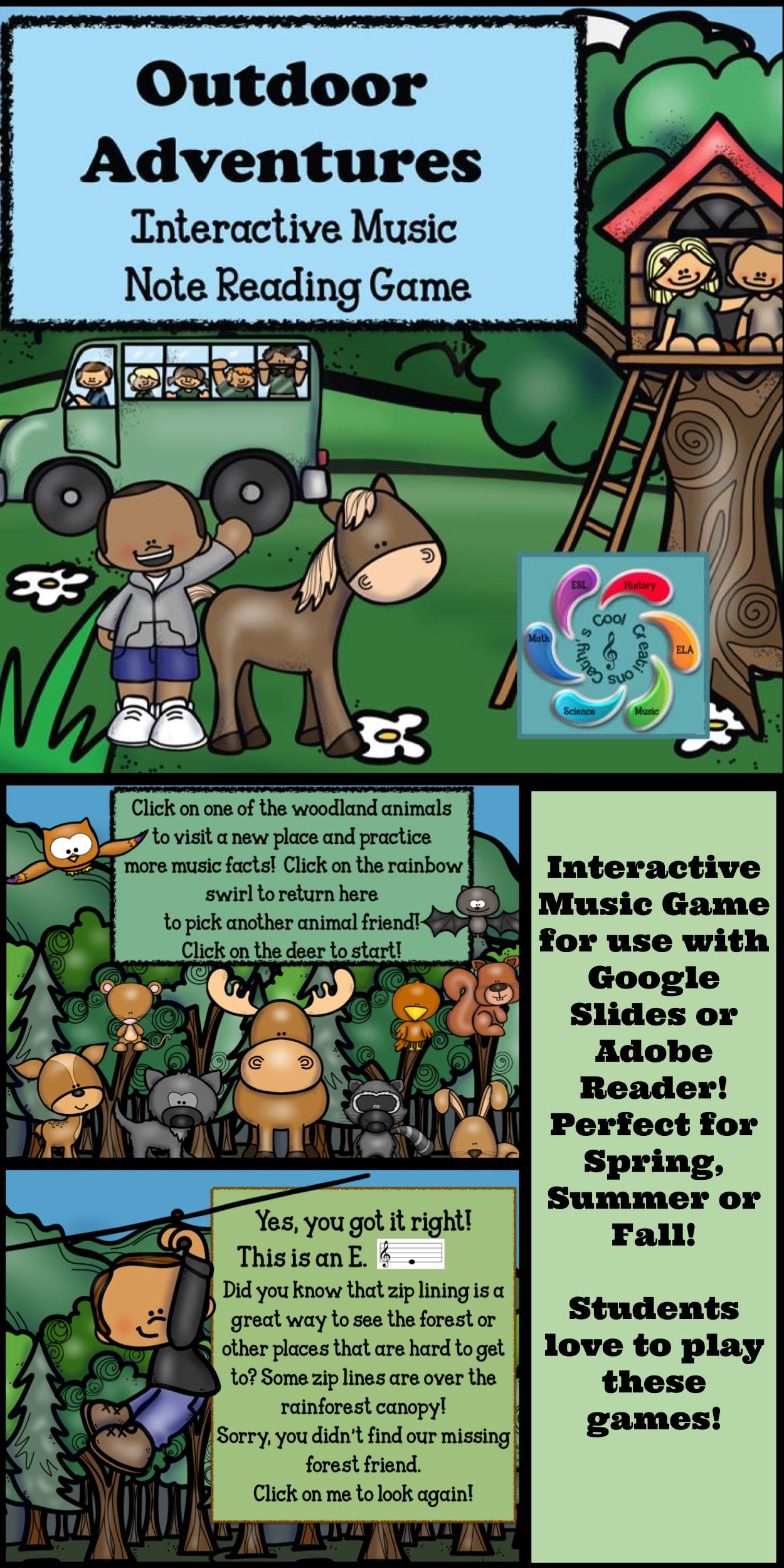 Interactive Music game (Note Reading) Google Slides/Adobe PDF