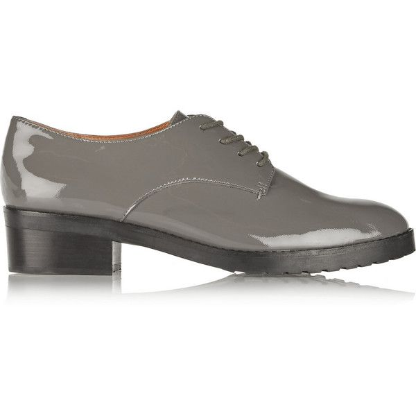 Rebecca Minkoff Phoebe patent-leather oxfords ($98) ❤ liked on Polyvore featuring shoes, oxfords, grey, lace up oxfords, grey patent leather shoes, patent leather oxfords, mid heel shoes and patent oxford shoes