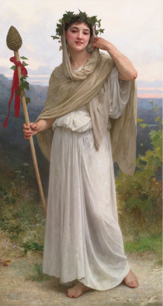 William Adolphe Bouguereau, Neoclassicism  Prêtresse de Bacchus (1894)  oil on canvas  67¼ X 36 in.