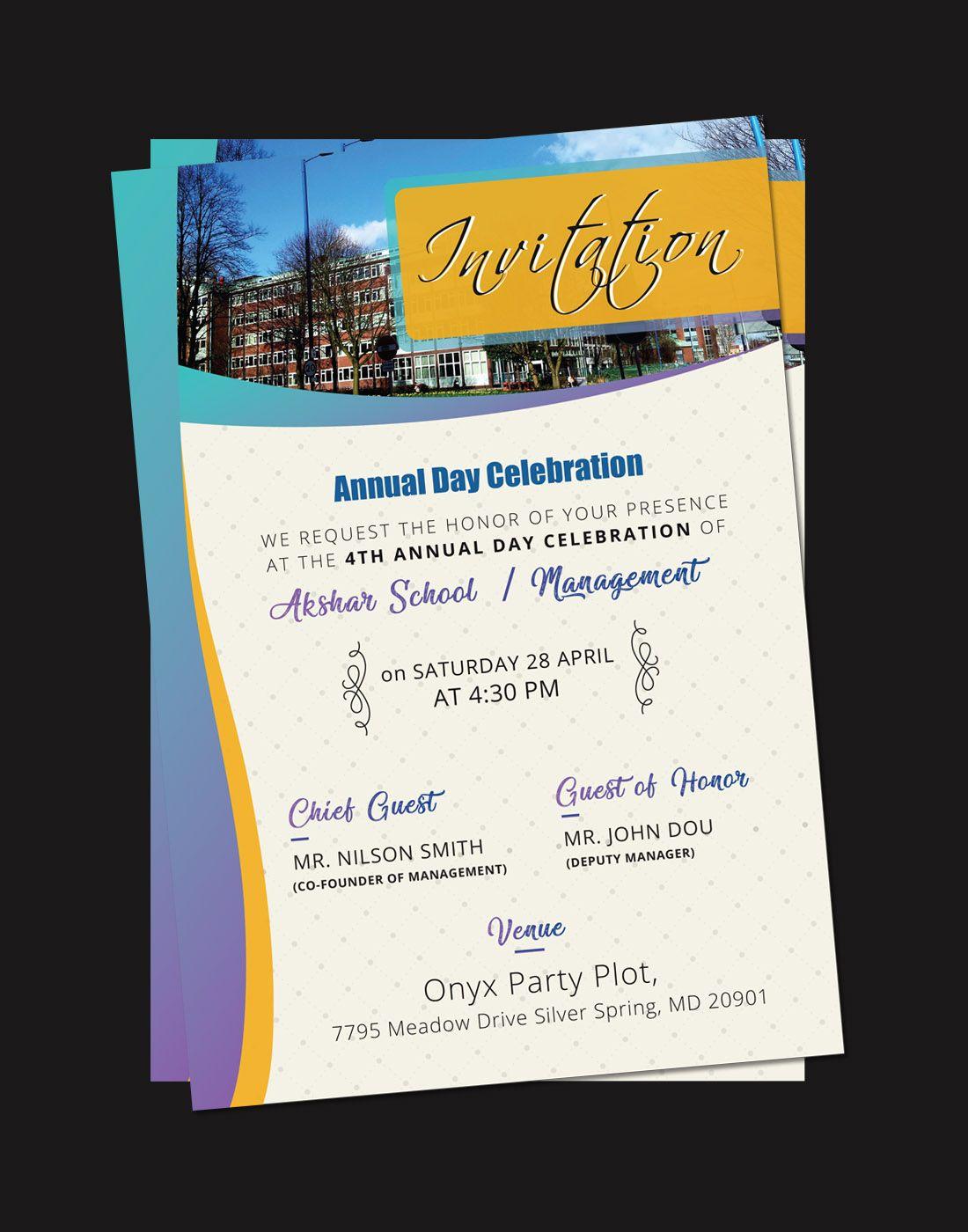Annual Day Invitation Cards Invitation card design