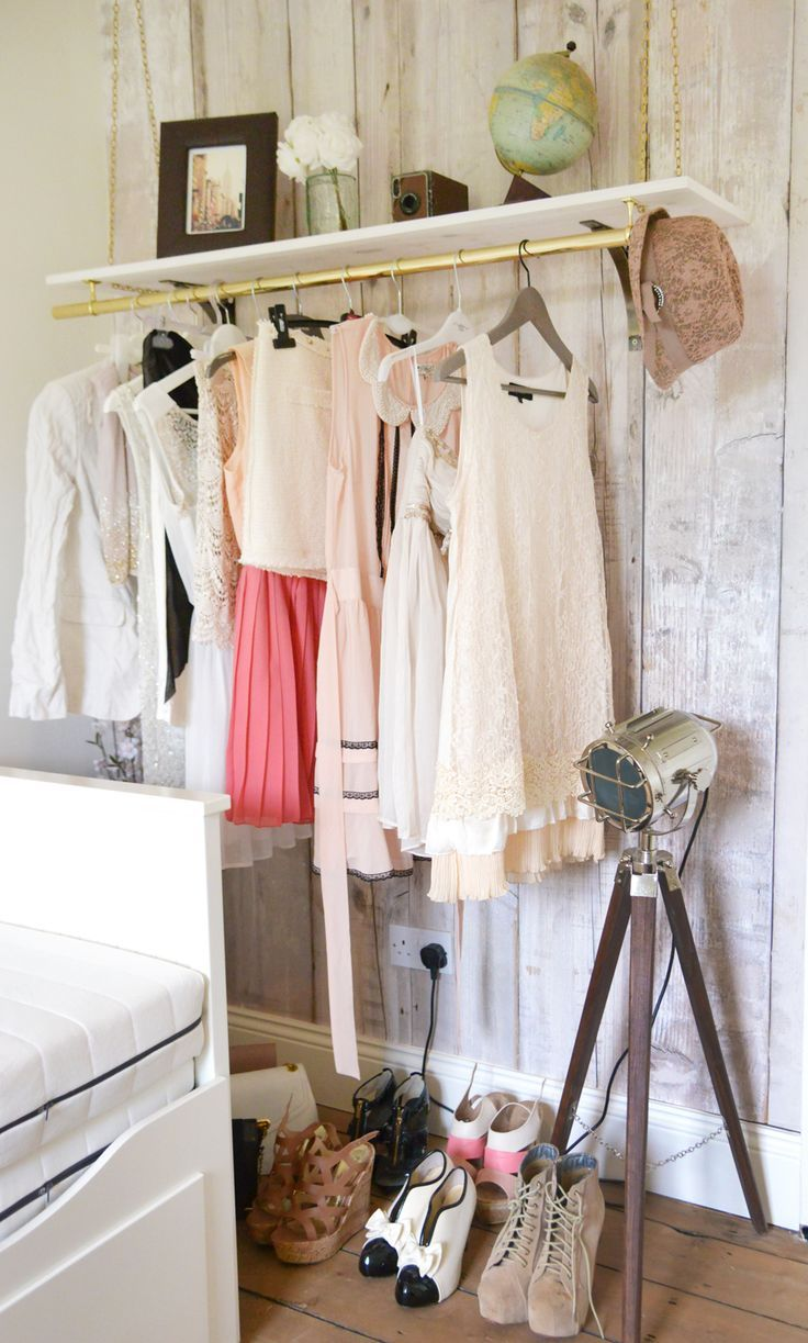 Wardrobe bedroom pinterest wardrobe interior design wardrobe - Hanging Clothes Rail I Would Only Add Pink And White Clothes To The Rail To Ensure It Fits In With The Rooms Design