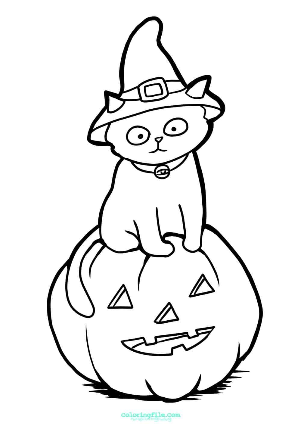 Halloween Cat With Sitting On Pumpkin Coloring Pages From 100