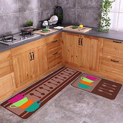 Best Kictchen Rugs Carvapet 2 Piece Nonslip Kitchen Mat Rubber Backing Doormat Runner Rug Set Colorful Cups 19x591 Kitchen Mat Rug Runner Kitchen Floor Decor