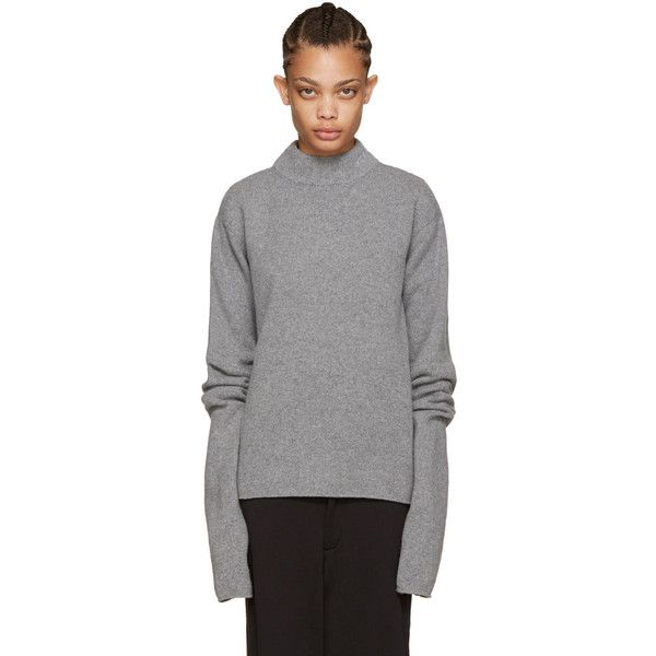 Hood by Air Grey Logo Turtleneck (£390) ❤ liked on Polyvore featuring tops, sweaters, light grey, grey sweater, turtleneck sweater, mock turtle neck sweater, gray turtleneck sweater and gray sweater