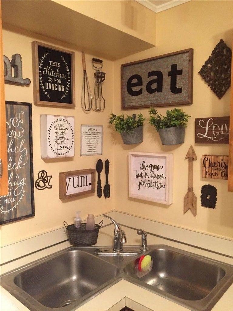 99 Eyechacting Diy Kitchen Wall Decorating Ideas Country Kitchen Wall Decor Kitchen Gallery Wall Kitchen Decor Wall Art