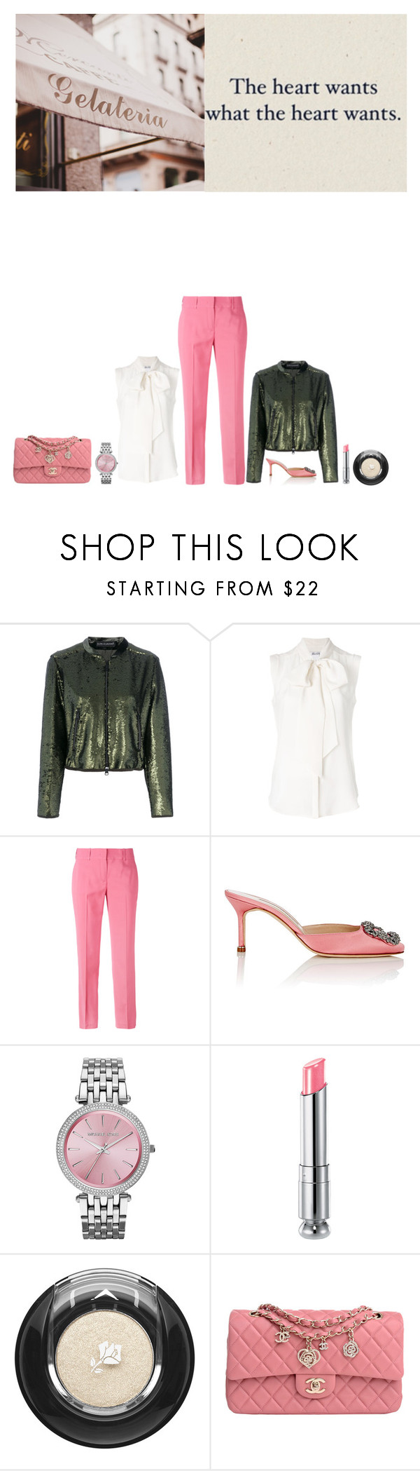 """""""22.07.2017"""" by chrissy6 ❤ liked on Polyvore featuring LUISA CERANO, MaxMara, Ermanno Scervino, Manolo Blahnik, Michael Kors, Christian Dior, Lancôme and Chanel"""