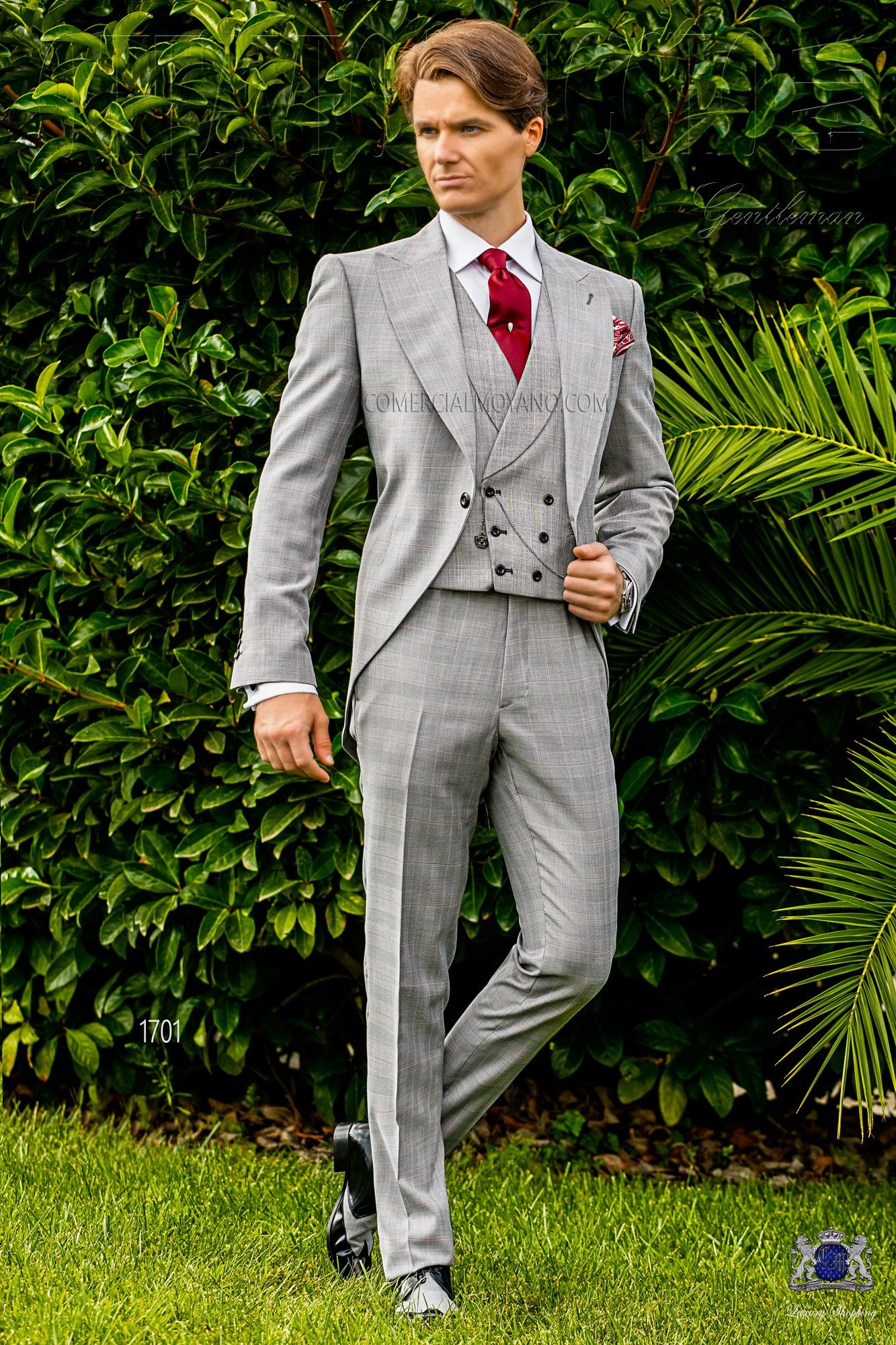 Italian bespoke light grey and red morning suit with wide peak lapels and 1  corozo button. Prince of Wales wool mix fabric. Wedding suit 1701 Gentleman  ... 9d58c825886