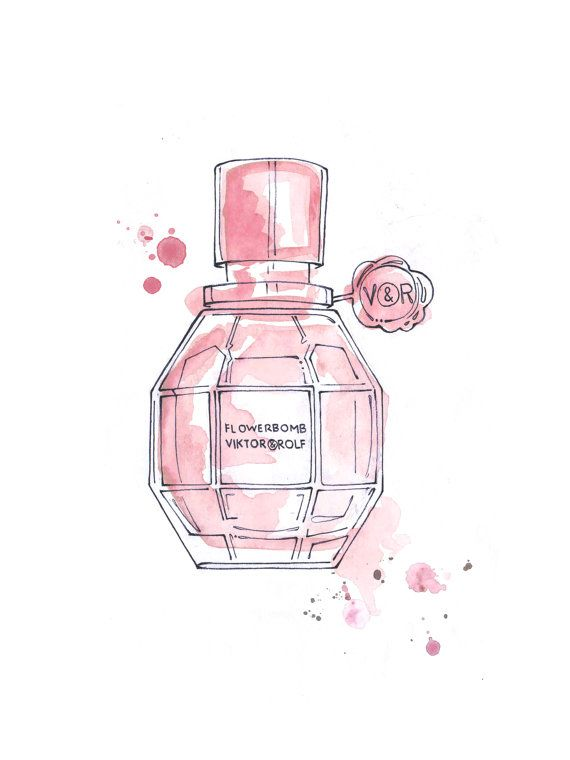 Watercolor Viktor Amp Rolf Flowerbomb Perfume Bottle By