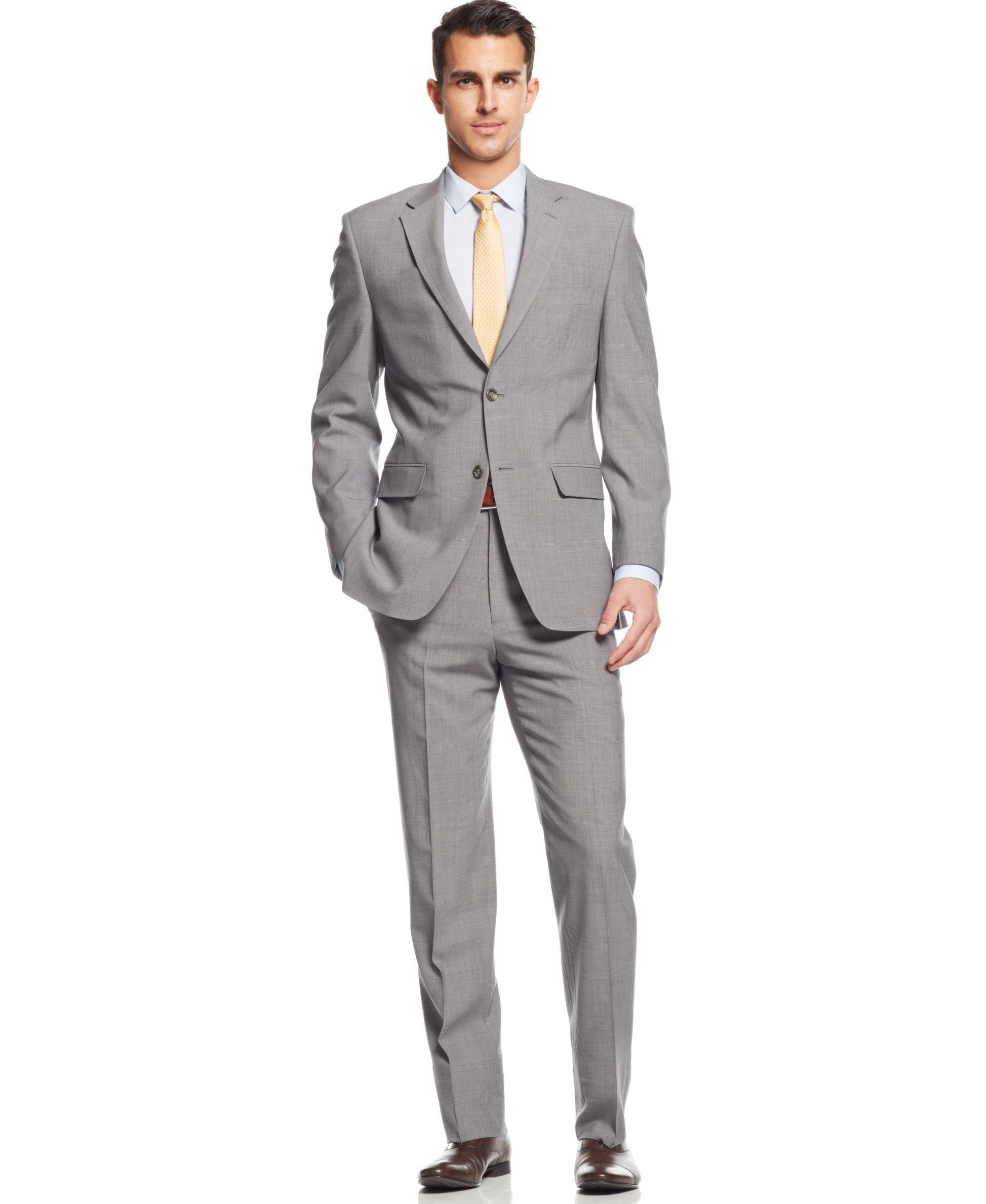 Jones New York Light Grey Plaid Athletic-Fit Suit | Products ...