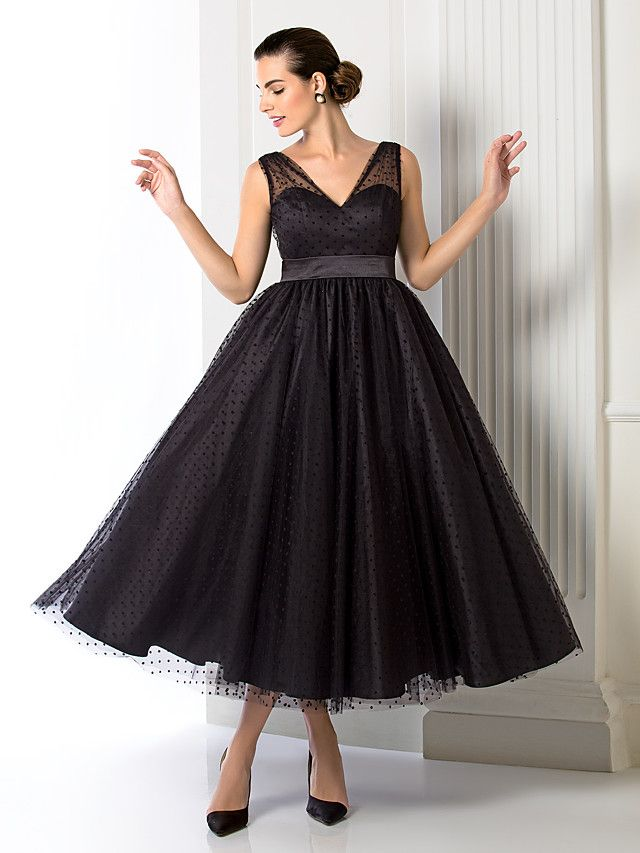 A Line V Neck Tea Length Tulle Cocktail Party Prom Formal