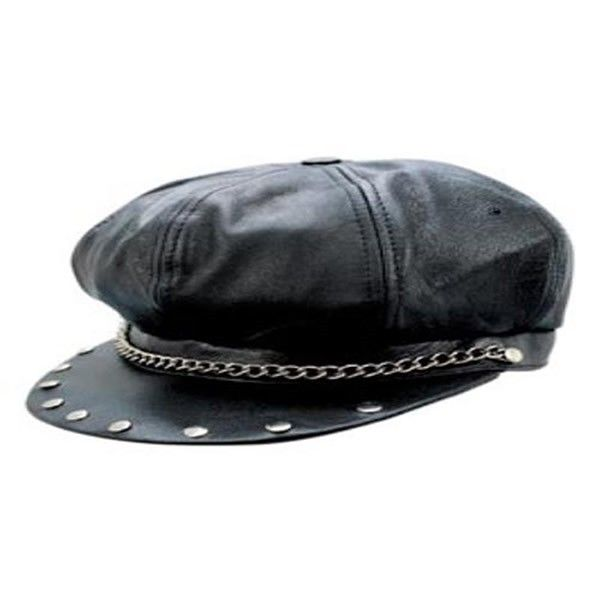 04f2fe9be8d Allstate Black Leather Motorcycle Chain Studded Baseball Cap Biker Hat is  for the biker or motorcycle enthusiast and comes in a solid black color  being made ...