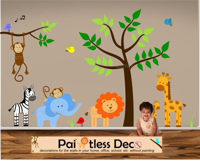 Reuseable Jungle Land (Zoo Animals) Baby Nursery Wall Decal Sticker -KS idee for aplikation  sc 1 st  Pinterest & Google Image Result for http://paintlessdeco.com/decals/images ...