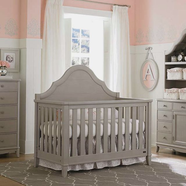 Ava crib; Dove Gray; Bassett Baby