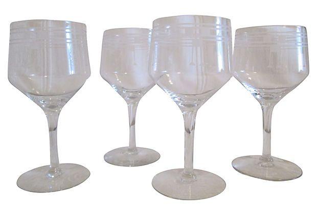 Art Deco Style Wine Glasses S 4 On Onekingslane Com Art Deco Fashion Art Deco Wine Glasses