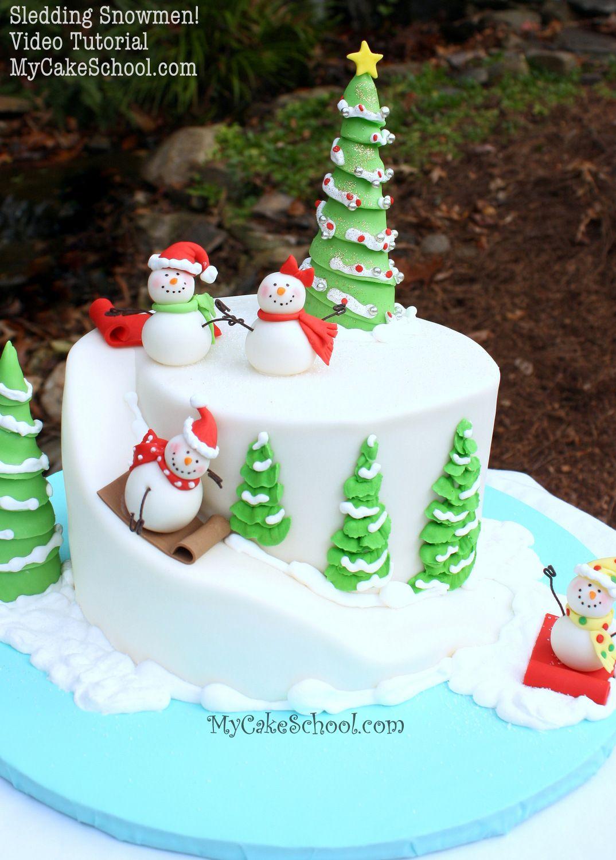 Sledding Snowmen Cake Video Christmas And Winter Snowman