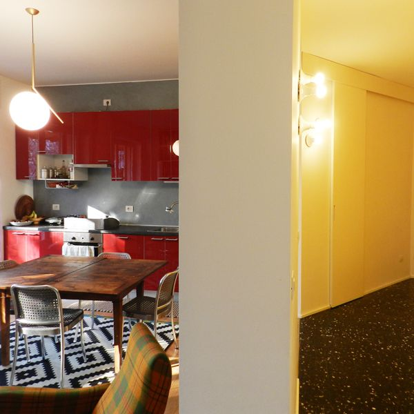 Dettaglio corridoio   cucina. Lampada IC Light di Flos per il ...