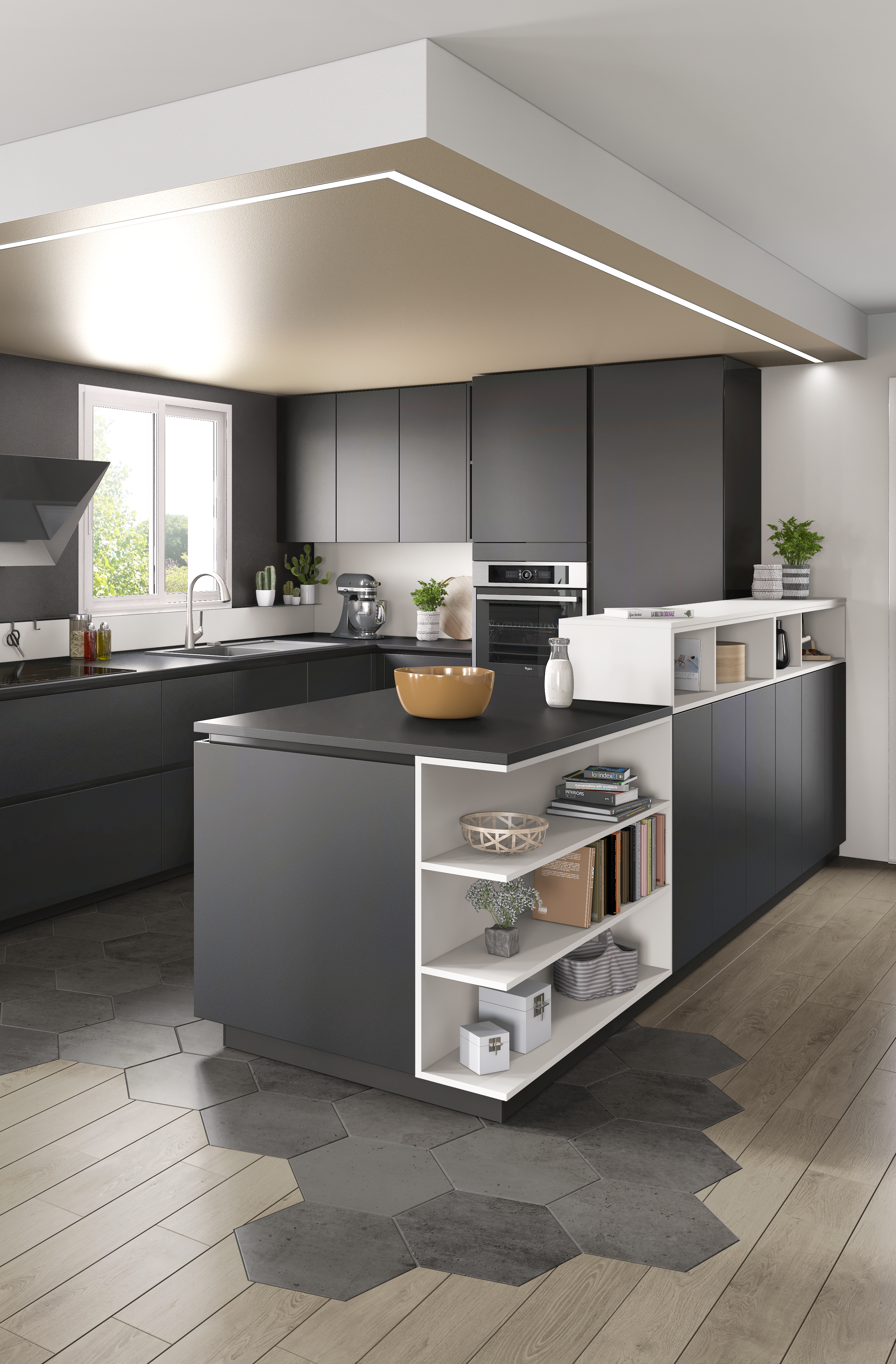 Ambiance Moderne  Cuisine moderne, Separation cuisine salon