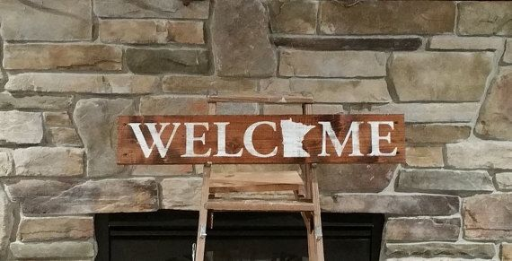 Any State Welcome Sign, Cedar, Rustic Minnesota Welcome Sign, Rustic ...