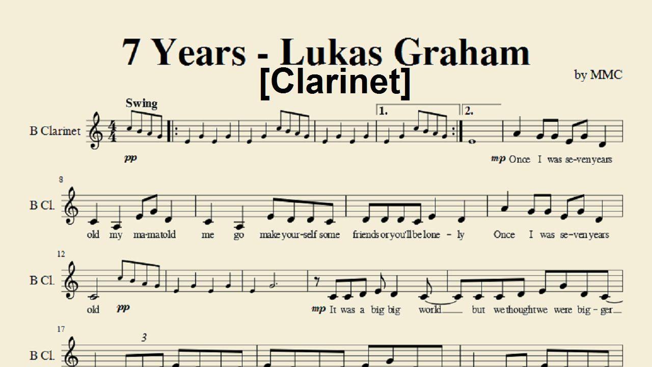 7 Years Piano Sheet Music With Letters clarinet sheet music 7 years   years - lukas graham