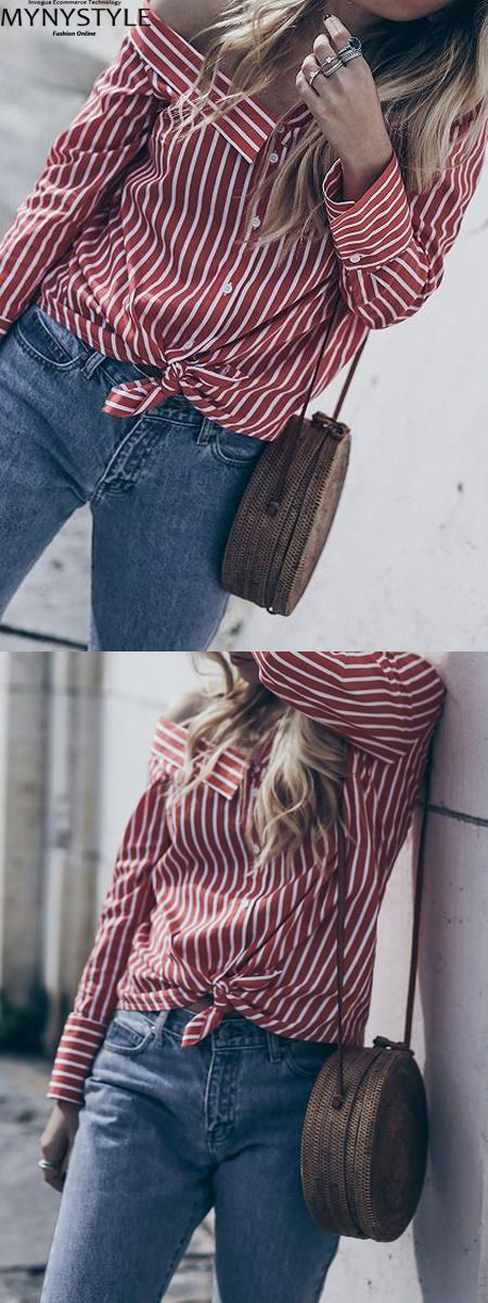 b011e37188 Shop Online for MYNYSTYLE Burgundy Stripe Tie Front Long Sleeve Women Shirt  at  17.99 and discover