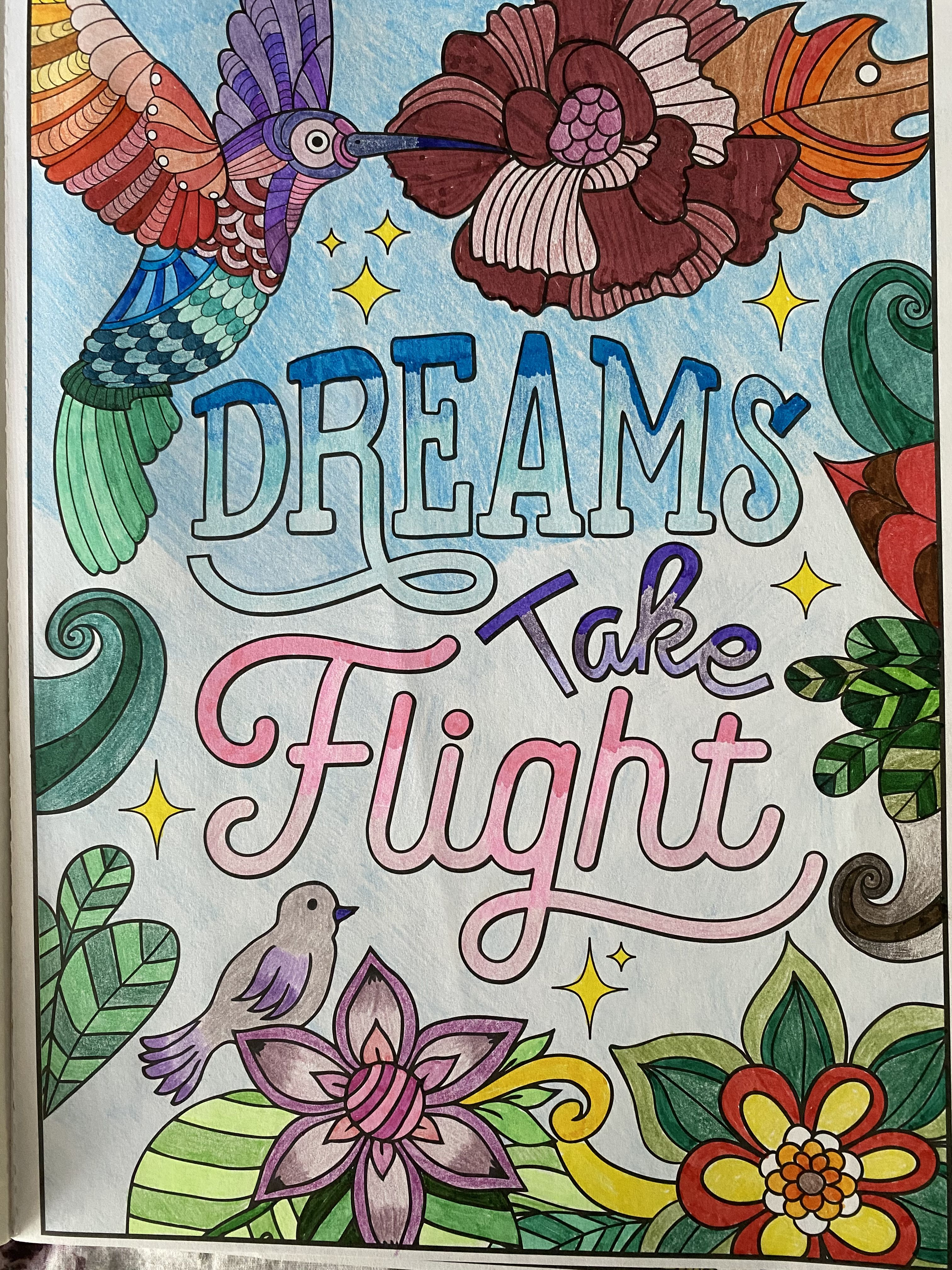 Dreams Take Flight Coloring Book Page Coloring Books Colorful Art Good Night Messages