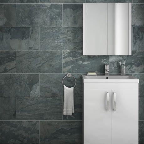 Grado Anthracite Tile Matt Textured 600x300mm Victorian Plumbing Tile Bathroom Bathroom Wall Tile Durable Tiles