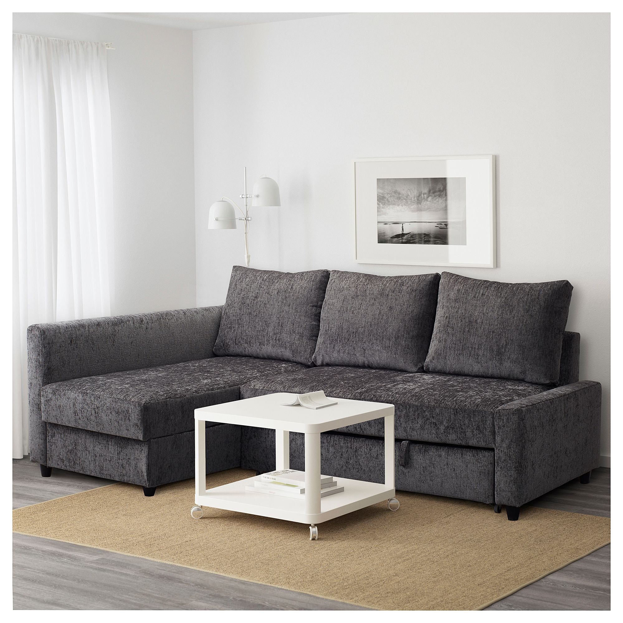 Friheten Dark Grey Corner Sofa Bed Skiftebo Dark Grey