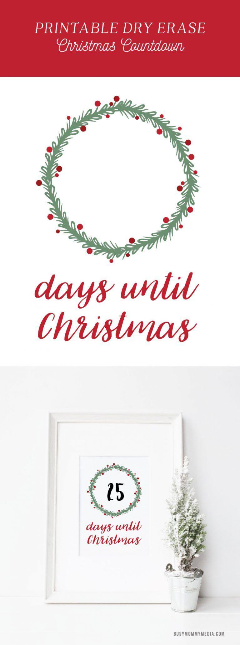 Days Until Christmas Printable.Printable Dry Erase Christmas Countdown Printables