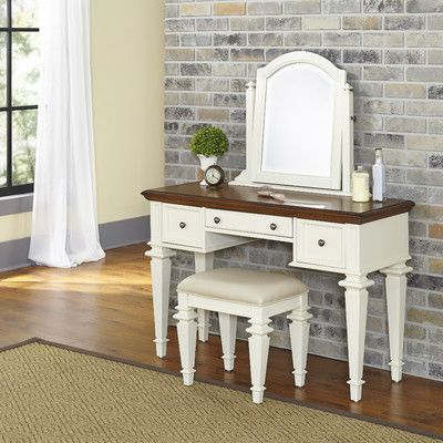 Home Styles Americana Vanity Set with Mirror Color: White