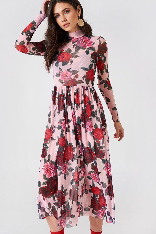 aa2c52bed17 Siateczkowa sukienka midi z długim rękawem Pink Floral
