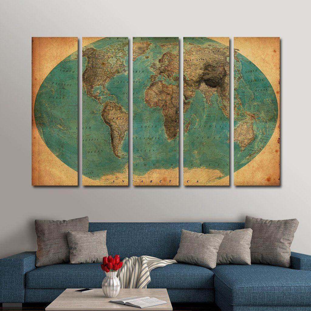 retro world map 1930 s multi panel canvas wall art new home