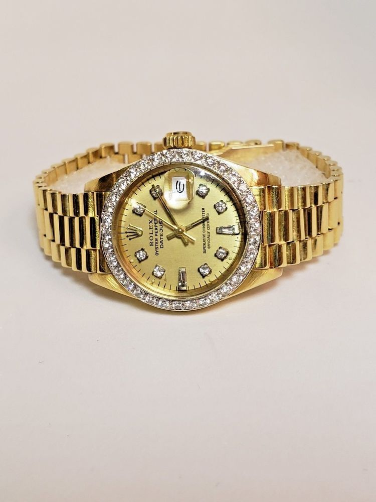 LADIES ROLEX OYSTER PERPETUAL DATEJUST WRISTWATCH 18K GOLD