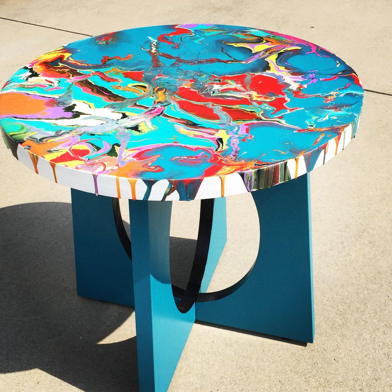 Fluid Acrylic Pour On Wood Table