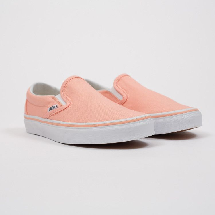 601fe399e5 Vans Classic Slip On Tropical Peach Trainers – a low profile shoe with a  canvas upper available from Roo s Beach UK