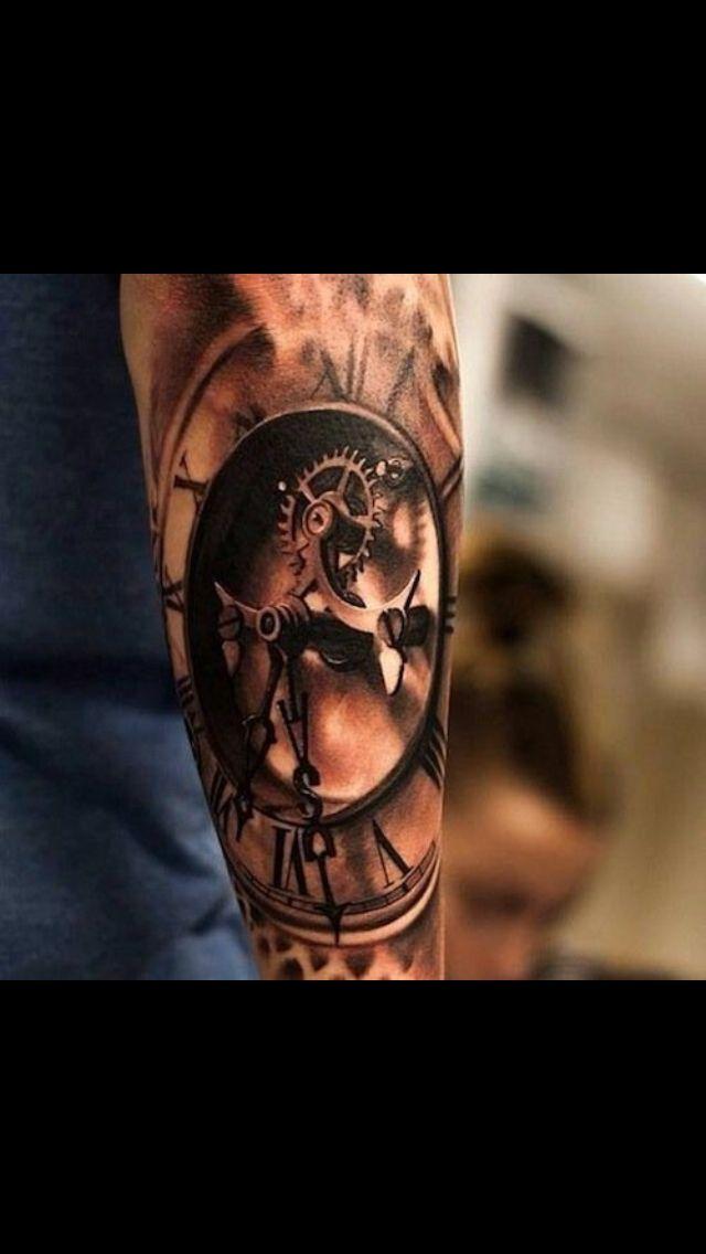 Detailed 3d Clock Tattoos For Guys Badass Watch Tattoos Cool