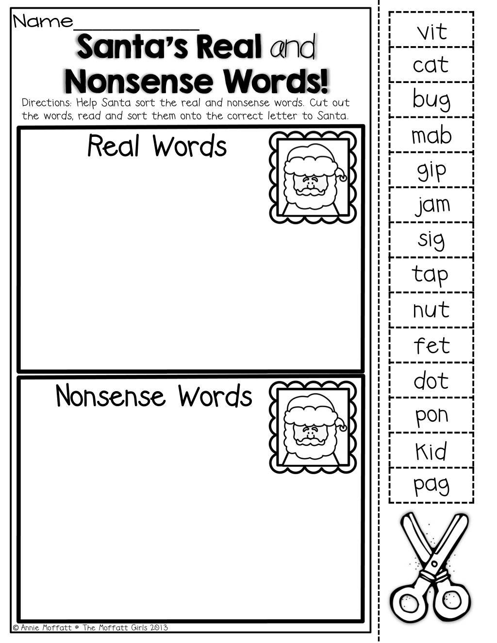 Santa S Real And Nonsense Word Sort
