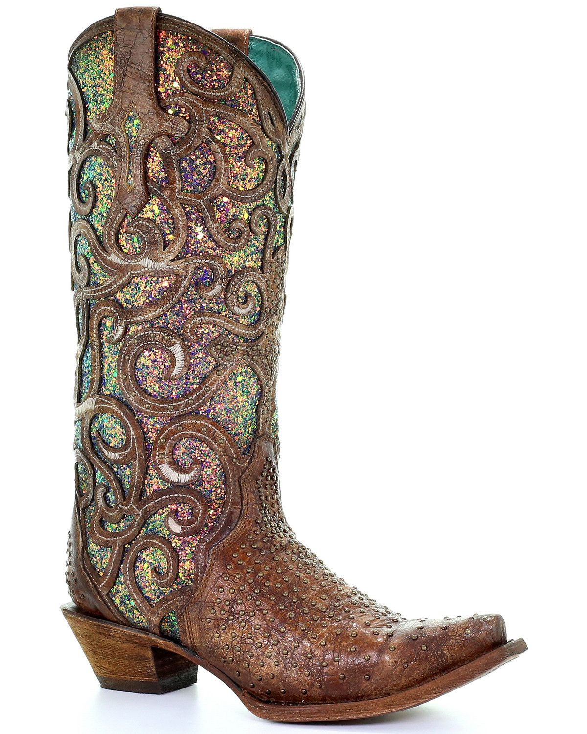 Corral womens cognac glitter inlay western boots snip