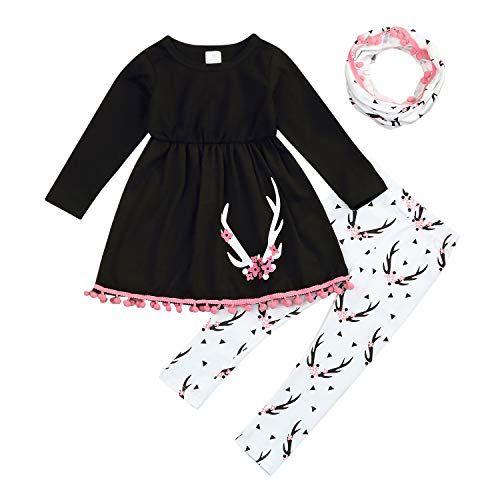 30ff5c686 Kids Baby Girls Outfits Long Sleeve Tassel Tunic Dress Pants Scarf ...