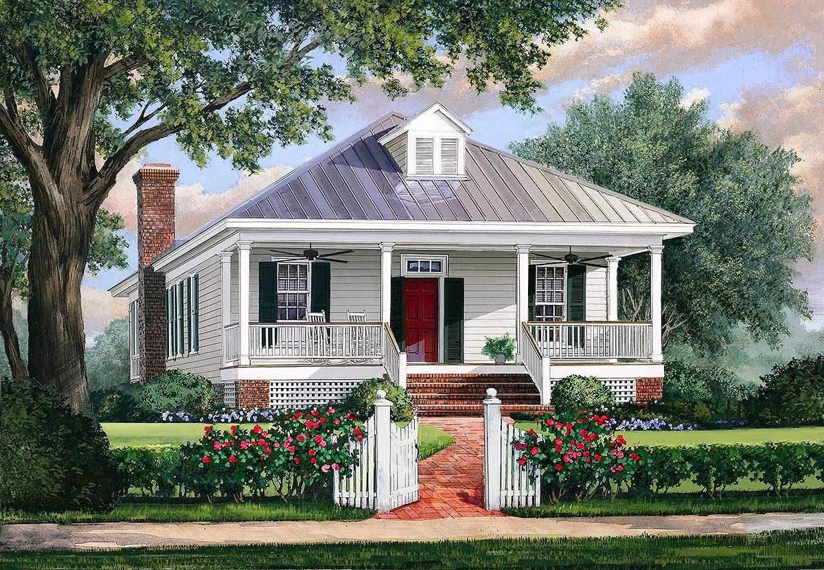 Plan 32623wp southern cottage house plan with metal roof for Cottage style roof design