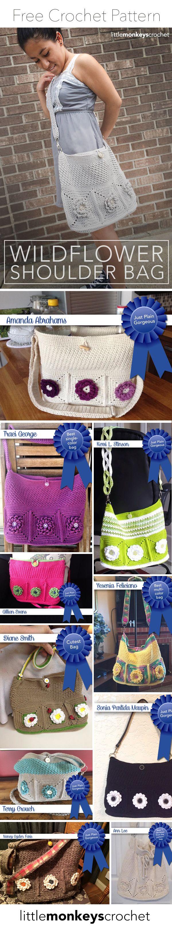 Wildflower Shoulder Bag Free Crochet Pattern - American Standard Terms, UK Terms, Dutch, German, Norwegian, Danish, French and Spanish Translations   Free Crochet Purse Pattern by Little Monkeys Crochet
