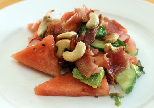 Watermelon Salad with crispy bacon and mint