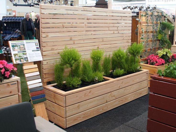 Pflanzkasten Holz Lang L mit Sichtschutz, Oberfläche: Natur, wetterfestes Holz #balconyprivacyscreen