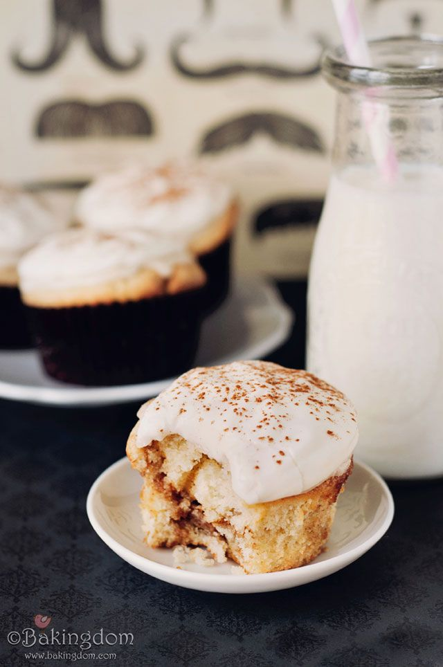 cinnamon roll cupcakes with icing AND frosting. I can't bake these because I'd eat them all.