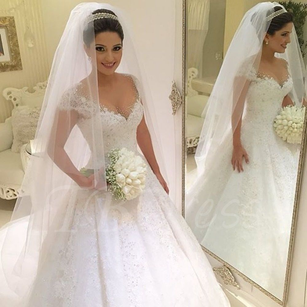 Beading lace ball gown princess wedding dress ball gowns for Custom wedding dress online