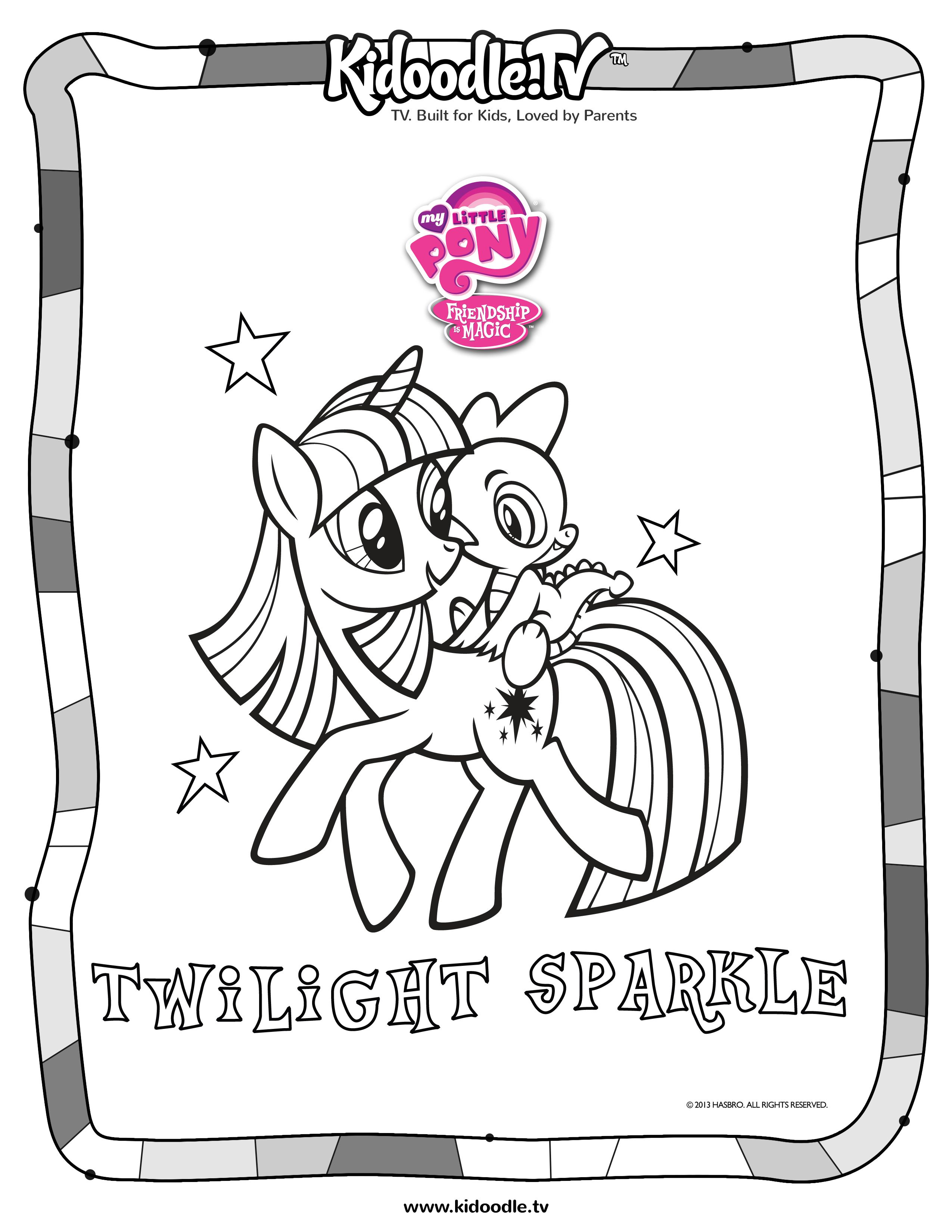 My little pony twilight sparkle coloring sheet from for Hasbro coloring pages