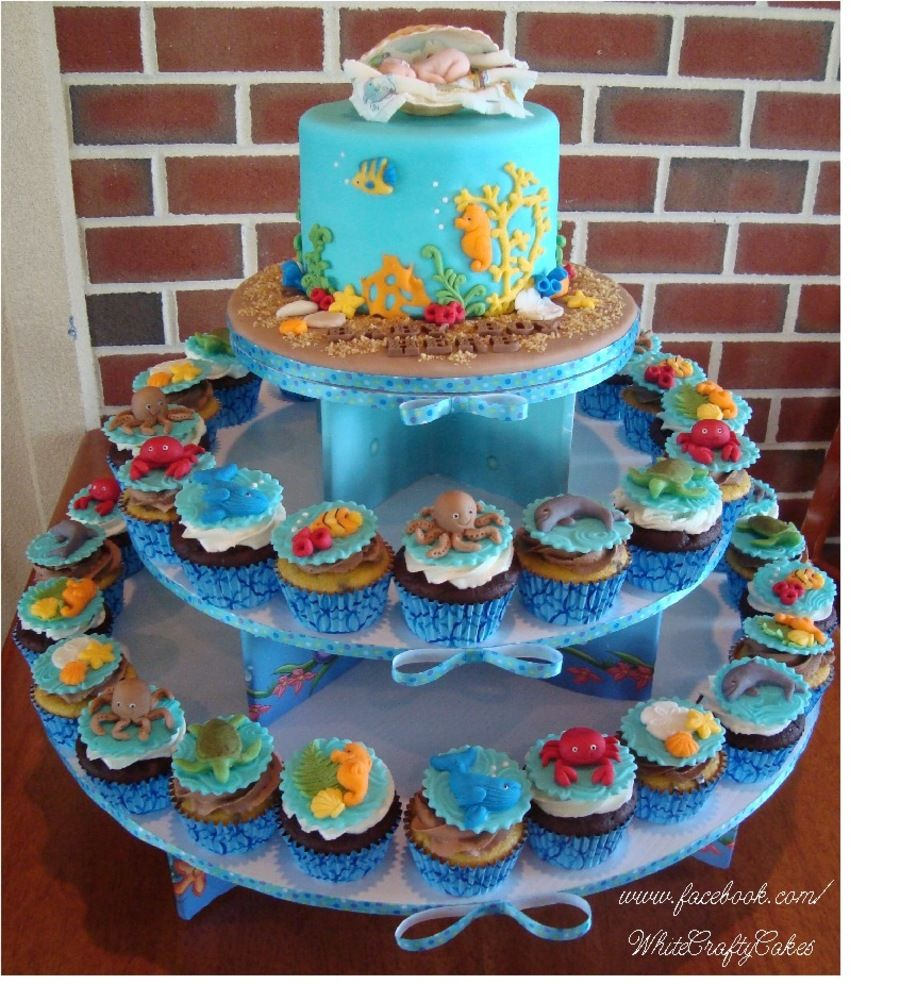 I Made This Cake And Cupcake Tower For A Under The Sea Themed Baby Shower