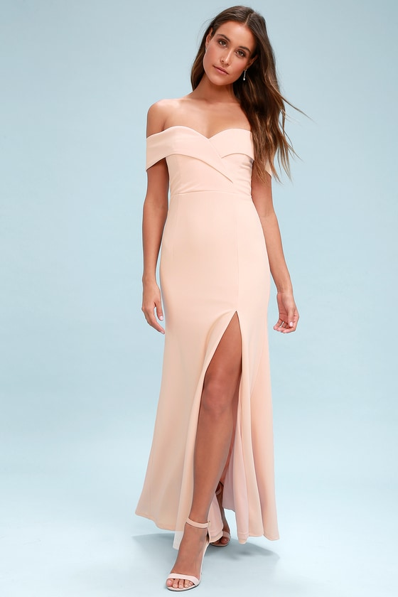 49c0f84748e Song of Love Blush Pink Off-the-Shoulder Maxi Dress 1